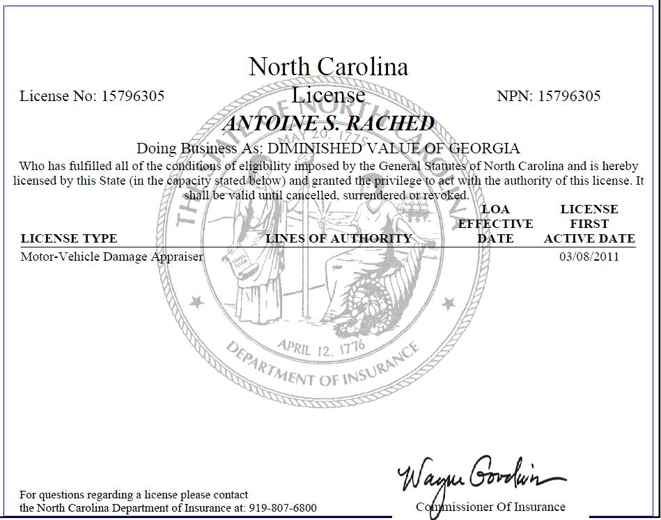 North-Carolina-Auto-Appraiser-License