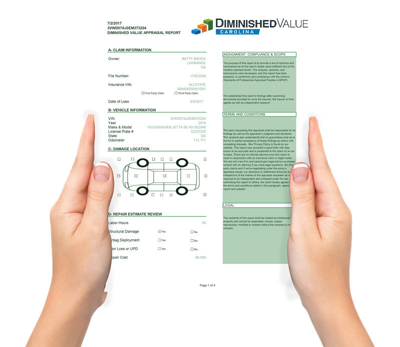 Diminished Value North Carolina Appraisal Company Report Sample